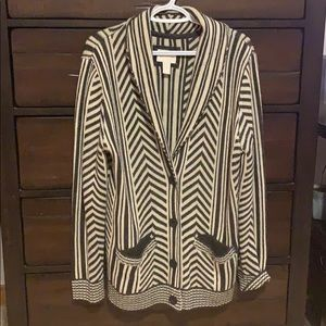 Forever21 Black & Cream Striped Button Up Cardigan